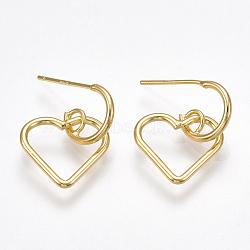 латунь серьги, с 925 штырями стерлингового серебра, сердце с узлом, реальное золото покрыло, 19.5x13.5 mm; контактный: 0.8 mm(X-KK-T038-322G)