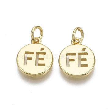 Brass Charms, with Jump Ring, Nickel Free, Flat Round with Word, Real 18K Gold Plated, 13.5x11x1.5mm, Hole: 3mm(X-KK-R133-025-NF)