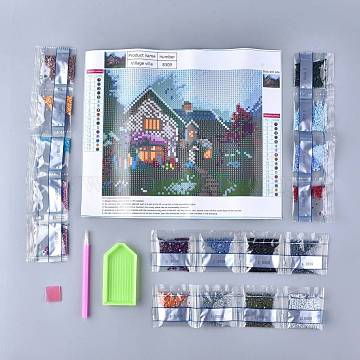 DIY Diamond Painting Stickers Kits For Kids, with Diamond Painting Stickers, Resin Rhinestones, Diamond Sticky Pen, Tray Plate and Glue Clay, Forest Cabin, Mixed Color, 29.5x25.5cm(DIY-F054-06)