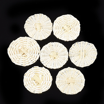Handmade Reed Cane/Rattan Woven Beads, For Making Straw Earrings and Necklaces, No Hole/Undrilled, Bleach, Flat Round, Beige, 25~29x2~3.5mm(X-WOVE-T006-022)