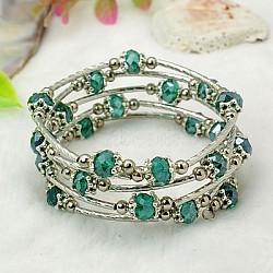 Bracelets enroulés à la mode, avec des perles de verre rondelles, Coupelles de style tibétain , laiton perles de tubes et de fils d'acier de la mémoire, sarcelle, diamètre intérieur: 55 mm(BJEW-JB00628-14)