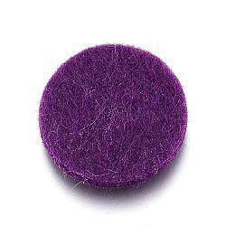 Coussinets de parfums de fibres, Tampons de relevage des diffuseurs d'huiles essentielles, plat rond, violet, 22x3mm(DIY-D021-01H)