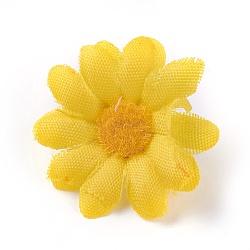 tournesol en tissu de soie, tête de fleur artificielle, pour la décoration de fête de mariage, jaune, 40x16~17 mm; diamètre intérieur: 2 mm(DIY-WH0134-A17)