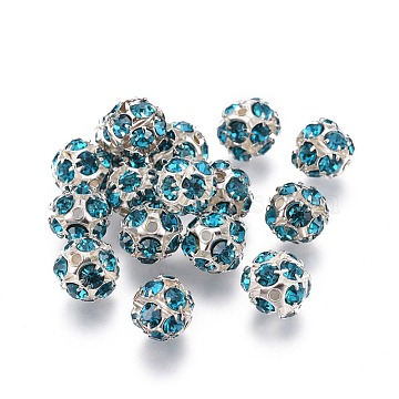 Brass Rhinestone Beads, with Iron Single Core, Grade A, Silver Color Plated, Round, Blue Zircon, 8mm in diameter, Hole: 1mm(RB-A019-8mm-06S)