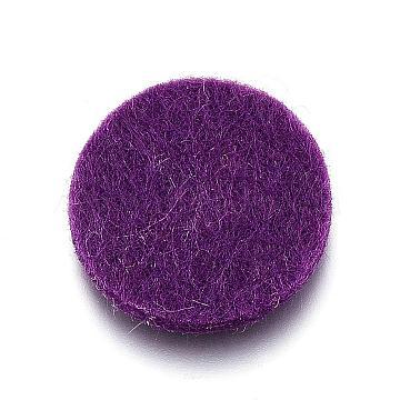 Fibre Perfume Pads, Essential Oils Diffuser Locket Pads, Flat Round, Purple, 22x3mm(DIY-D021-01H)