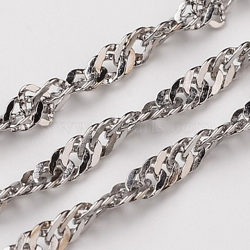 304 Stainless Steel Singapore Chains, Soldered, Faceted, Stainless Steel Color, 3mm(X-CHS-L015-09)