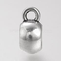 Liens de suspension en alliage de style tibétain, sans plomb, rondelle, argent antique, 11.5x8x5.5mm, trou: mm 2.5; 4.5 mm de diamètre intérieur(X-TIBE-S310-110AS-LF)