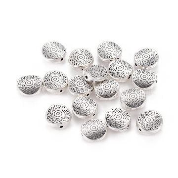 Tibetan Style Alloy Beads, Lead Free and Cadmium Free, Flat Round with Star, Antique Silver, about 10mm in diameter, 4mm thick, hole: 1.5mm(X-LF10793Y)
