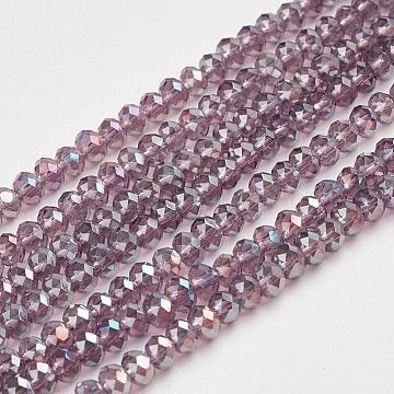 Electroplate Glass Beads Strands, AB Color Plated, Faceted, Rondelle, MediumPurple, 3x2mm, Hole: 1mm; about 100pcs/strand, 10inches(X-EGLA-D020-3x2mm-81)