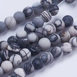 """Натуральный черный шелковый камень / чистые камни, матовые, круглые, 4 мм, Отверстие : 0.5 мм; около 86 шт / нитка, 14.5"""" (37 см)(G-E441-02-4mm)"""