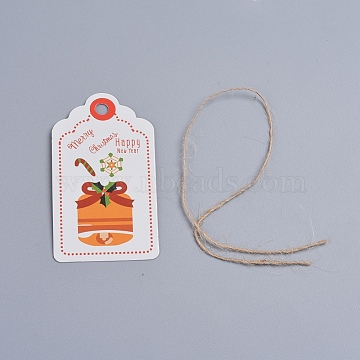 Paper Gift Tags, Hang Tags, with Hemp Cord, for Christmas Festival Holiday Decorative Presents, Scalloped Top Rectangle, White, 70x40x0.3mm, Hole: 5mm; Hemp Cord: 275x0.5mm(CDIS-G003-B04)
