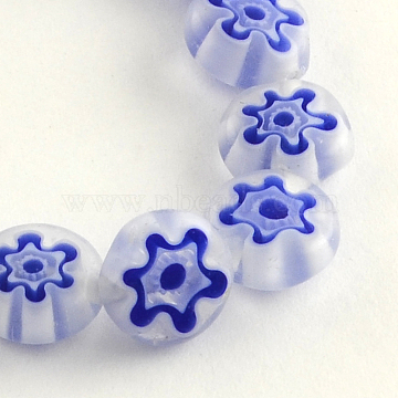 Handmade Millefiori Glass Beads Strands, Flat Round, Blue, 8x3mm, Hole: 1mm, about 50pcs/strand, 14.1 inches(X-LK-R004-03G)
