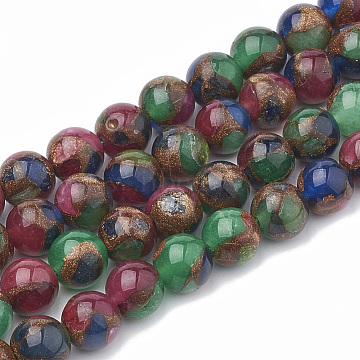 Natural Chalcedony Beads Strands, Imitation Gold Clinquant Stone, Dyed & Heated, Round, Colorful, 10mm, Hole: 1mm, about 40pcs/strand, 15.7 inches(G-S333-10mm-014B)