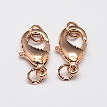 Rack Plating and Vacuum Plating Brass Lobster Claw Clasps for Jewelry Necklace Bracelet Making, with Two Jump Rings, Cadmium Free & Lead Free, Rose Gold, 12x7x3mm, Hole: 3mm(X-KK-I599-12mm-RG-RS)