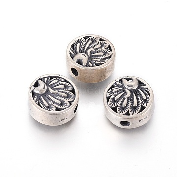 Antique Silver Flat Round Thai Sterling Silver Beads