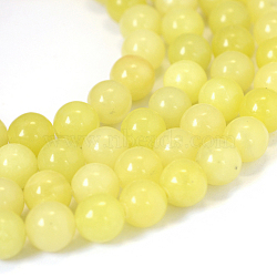 Natural Lemon Jade Round Bead Strands, 8~8.5mm, Hole: 1mm; about 47pcs/strand, 15.5
