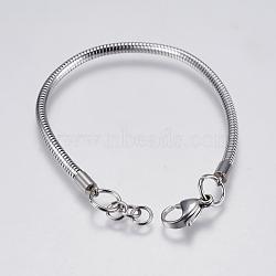 """Bricolage de bracelet chaîne serpent rond en 304 acier inoxydable, avec fermoir pince de homard, couleur inoxydable, 7-3/8"""" (18.9cm); 3mm, Trou: 4mm(STAS-I097-026-D)"""