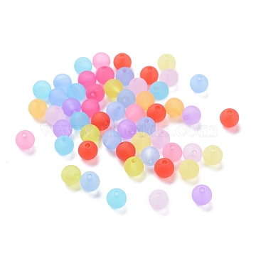 6mm Mixed Transparent Round Frosted Acrylic Ball Bead, Hole: 1mm(X-FACR-R021-6mm-M)