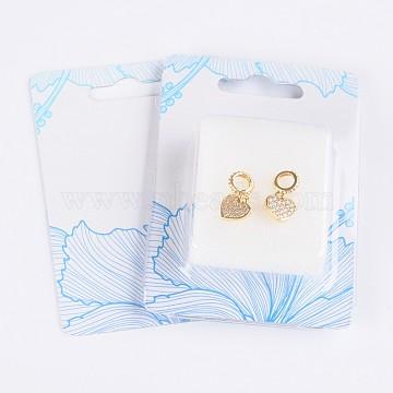 9mm Heart Brass+Cubic Zirconia Dangle Beads