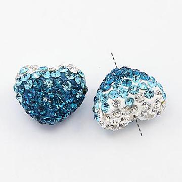 Polymer Clay Rhinestone Beads, Grade A, Heart, Aquamarine, 13x15x11mm, Hole: 1mm(X-RB-A049-01)