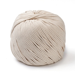 Cotton String Threads, Macrame Cord, for Sewing Craft, Cornsilk, 3mm; about 175m/roll(OCOR-WH0055-01)