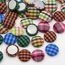 Accessoires de vêtement scrapbook embellissements flatback tartan demi-rond dôme tissu recouvert de tissu cabochons, avec fond en aluminium, de couleur métal platine , couleur mixte, 15x4mm(X-WOVE-F005-M)