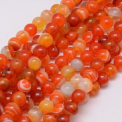 Round Dyed Natural Striped Agate/Banded Agate Beads Strands, OrangeRed, 8mm, Hole: 1mm; about 48pcs/strand, 15.2 inches
