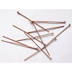 Épingles de tête en fer, sans nickel, cuivre rouge, 36x0.7 mm; environ 340 pcs / 50 g(X-HPR3.6cm-NF)