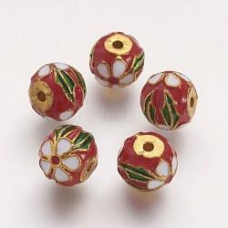 Perles d'émail en alliage, rond, rouge, 10~11x9mm, Trou: 2mm(ENAM-F060-02G)
