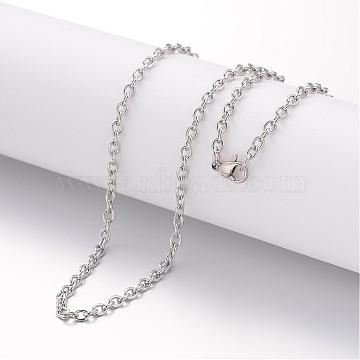304 Stainless Steel Necklace Making, Cable Chains, with Lobster Clasps, Stainless Steel Color, 17.72inches(450mm); 2mm(MAK-K004-10P)
