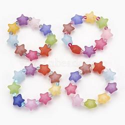 """Bracelets extensibles pour enfants avec perles en acryliques mate, avec des perles synthétiques en pierre de lune, étoiles, couleur mixte, 2-1/8"""" (5.4 cm)(BJEW-JB03895)"""