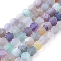 "Chapelets de perles en fluorite naturel, mat, rond, 8mm, trou: 1.2mm; environ 48 pcs/chapelet, 15.94""(X-G-K292-01)"