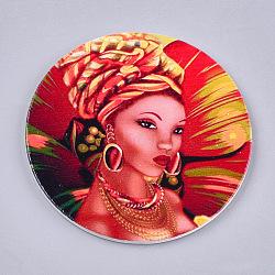 Gros pendentifs en bois imprimés, teint, rond plat avec dame de la mode, colorées, 60x2.5mm, Trou: 1.5mm(X-WOOD-S047-79)
