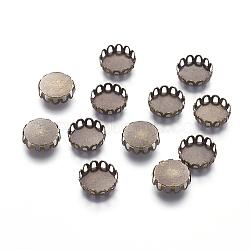 Tasses de lunette bord de dentelle en laiton, suports à cabochon, accessoires d'embellissement, sans cadmium et sans plomb, plat rond, bronze antique, Plateau: 10 mm(X-KK-C1764-3-AB)