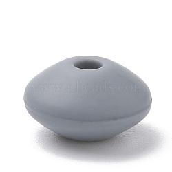 Экологические силиконовые бусины, жевательные бусины для чайников, DIY уход за ожерельем, рондель, сине-серые, 12x6~7 мм, отверстие : 2 мм(SIL-R009-15)