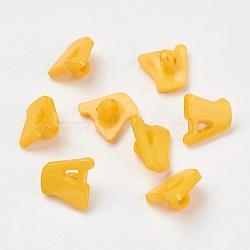 Boutons en acrylique, 1-trou, teint, lettre a, or, 14x13x2mm, Trou: 3mm(X-BUTT-E028-08)