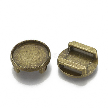 Tibetan Style Alloy Slide Charms Cabochon Settings, Cadmium Free & Nickel Free & Lead Free, Flat Round, Antique Bronze, Tray: 16mm; 18x5.5mm, Hole: 11x2.5mm; about 510pcs/1000g(TIBE-S317-06B-FF)