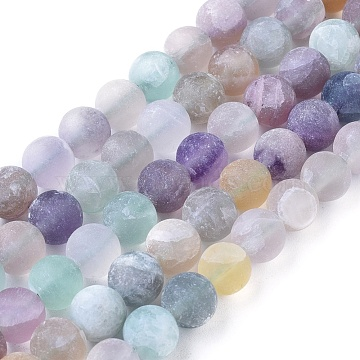 Natural Fluorite Beads Strands, Frosted, Round, 8mm, Hole: 1.2mm; about 48pcs/strand, 15.94 inches(X-G-K292-01)