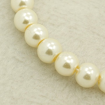 10MM Creamy White Round Pearlized Glass Pearl Beads Strands for Noble Necklace Jewelry Making, 10mm, hole: 1mm(X-HY-10D-B02)