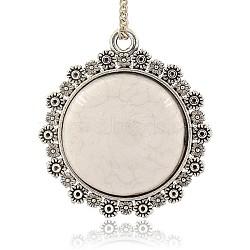 Pendentifs en résine et en alliage , plats pendentifs ronds, floral blanc, 45x41x9mm, Trou: 3mm(PALLOY-J395-01AS)