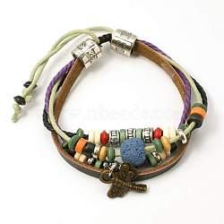 Perles de lave bracelets, cordon de coton ciré avec alliage et perles de bois, steelblue, 48 mm(BJEW-D264-01)