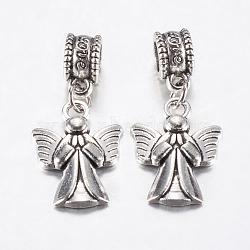 Perles européennes en alliage de style tibétain, Pendentifs grand trou, ange, argent antique, 30mm, pendentif: 19.5x14x2 mm, Trou: 4.5mm(PALLOY-F199-32AS)