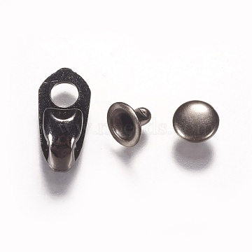 Alloy Boot Lace Hooks For Climbing and Outdoor Shoes, with Rivets, Gunmetal, 19x9x7mm, Hole: 4.5mm(PALLOY-WH0024-03B)
