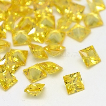 Cubic Zirconia Cabochons, Grade A, Faceted, Square, Gold, 6x6x3.6mm(ZIRC-M004-6x6mm-003)