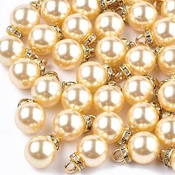 Абс пластмассовые жемчужные подвески, горный хрусталь и железная фурнитура, круглые, золотые, светло-лимонные, 15~16x10x10 мм, отверстие : 2 мм(MACR-T022-03F)