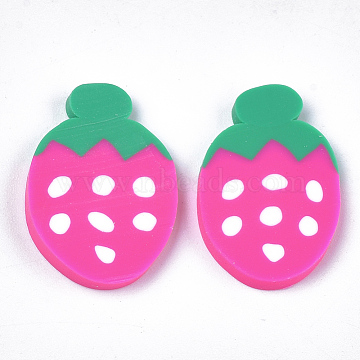 Handmade Polymer Clay Cabochons, Strawberry, Camellia, 24x15~16x2~3mm(CLAY-S091-51)