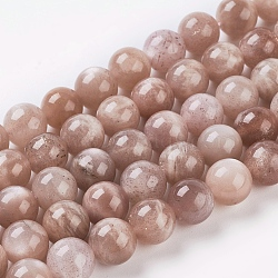 Natural Sunstone Beads Strands, Round, SandyBrown, 8mm, Hole: 1mm