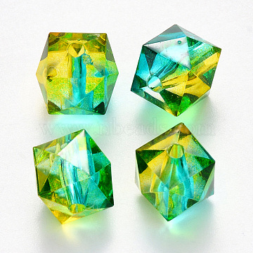 Transparent Spray Painted Crackle Acrylic Beads, Two Tone, Polygon, Gold, 7.5x8x8mm, Hole: 1.8mm; 100pcs/bag(ACRP-YW0001-01J)