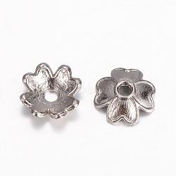 alliage perles caps paramètres d'émail, trèfle à quatre feuilles, bronze, 7.5x2 mm, trou: 1 mm(X-PALLOY-D348-05B)