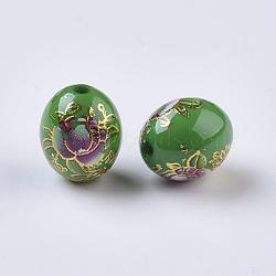 Perles rondes en verre transparent avec motif de fleur, ovale avec des fleurs, teint, verte, 13x10.5mm, Trou: 2mm(RESI-J020-A08)